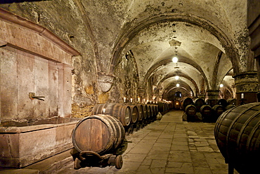 Wine cellar at the Kloster Eberbach Abbey, Eltville am Rhein, Rheingau, Hesse, Germany, Europe
