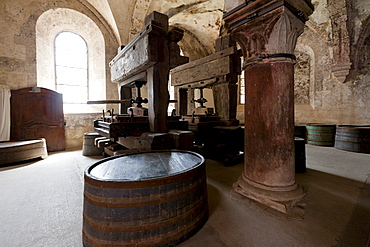 Old wine presses in Kloster Eberbach Abbey, Eltville am Rhein, Rheingau, Hesse, Germany, Europe