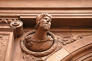 Male figure on the entrance gate, detail, old town hall, 1570-72, Markt 1, Schweinfurt, Lower Franconia, Bavaria, Germany, Europe