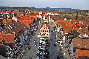 View from the tower of the Johanniskirche church on the market square with the old town hall, in the back the Hersbrucker Schweiz region, market place, Lauf an der Pegnitz, Middle Franconia, Bavaria, Germany, Europe