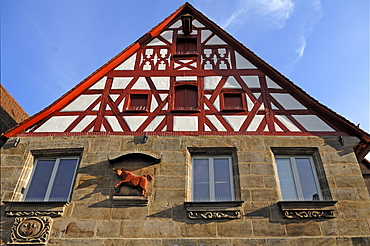 Old half-timbered house of an old butcher shop from 1787, market place, Lauf an der Pegnitz, Middle Franconia, Bavaria, Germany, Europe