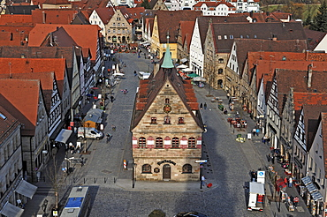 View from the tower of the Johanniskirche church on the market square with the old town hall, market place, Lauf an der Pegnitz, Middle Franconia, Bavaria, Germany, in Europe