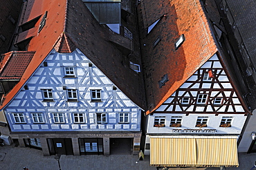 View from the tower of the Johanniskirche church on two old Franconian half-timbered houses, market place, Lauf an der Pegnitz, Middle Franconia, Bavaria, Germany, in Europe