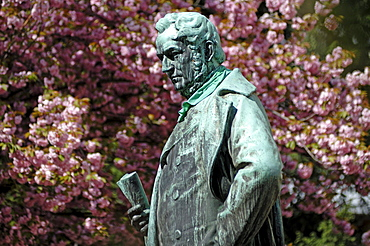 Monument to the chemist Johann Wilhelm Bunsen, 1811-1899, in the back a flowering almond trees, Anatomiegarten gardens, Hauptstrasse, Heidelberg, Baden-Wuerttemberg, Germany, Europe