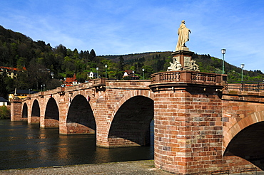 Alte Bruecke bridge, on the right sculpture of Elector Karl Theodor by sculptor Franz Conrad Linck, 1788, Obere Neckarstrasse 2, Heidelberg, Baden-Wuerttemberg, Germany, Europe