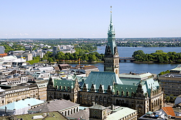 City Hall, Binnenalster and Alster Lakes, Hamburg, Germany, Europe