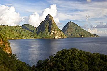 Piton Mountains, bay, rainforest, clouds, UNESCO World Heritage Site, Soufriere, Saint Lucia, LCA, Windward Islands, Lesser Antilles, Caribbean, Caribbean Sea