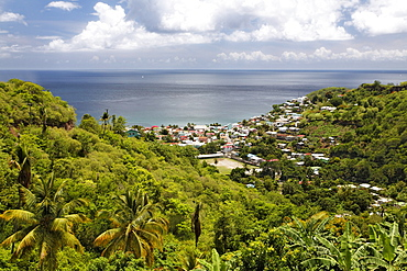 Green tropical island landscape, bay, ocean, city, Canaries, Saint Lucia, LCA, Windward Islands, Lesser Antilles, Caribbean, Caribbean Sea
