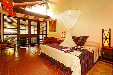 Large hotelroom, naturally ventilated through construction method, mosquito net, Luxury Hotel Anse Chastanet Resort, LCA, St. Lucia, Saint Lucia, Island Windward Islands, Lesser Antilles, Caribbean