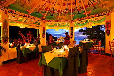 Restaurant at the Luxury Hotel Anse Chastanet Resort, LCA, St. Lucia, Saint Lucia, Island Windward Islands, Lesser Antilles, Caribbean, Caribbean Sea