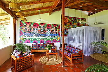 Hotelroom with original art by Claude Sandoz, Luxury Hotel Anse Chastanet Resort, LCA, St. Lucia, Saint Lucia, Island Windward Islands, Lesser Antilles, Caribbean, Caribbean Sea