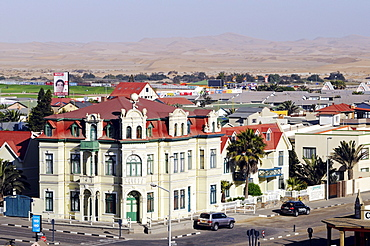 View on the Hohenzollern-Haus building, architecture from the German colonial period, Swakopmund, Erongo region, Namibia, Africa
