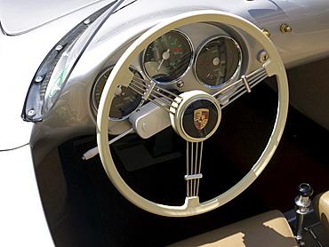 Cockpit of a Porsche 356 Speedster from the Sixties