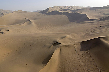 Aerial view of sand dunes with caravan route in the Gobi desert, silk road, Dunhuang, Gansu, China, Asia
