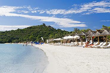 Deck chairs on the beach, San Ciprianu, Golfe de Porto Vecchio, East Coast, Corsica, France, Europe
