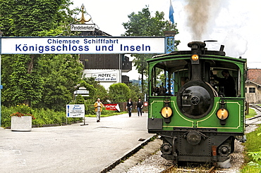 Chiemseebahn tourist train, Prien Stock, lake Chiemsee, Chiemgau, Upper Bavaria, Germany, Europe