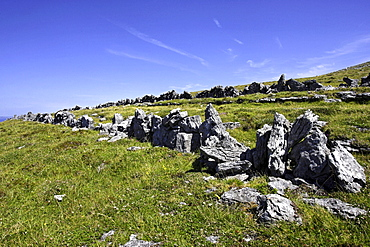Remains of a Celtic ringfort at Blackhead, The Burren, County Clare, Republic of Ireland, Europe