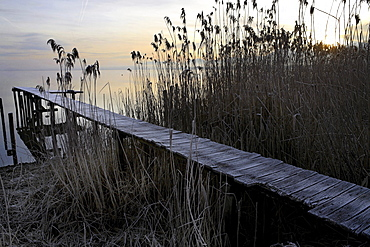 Old wooden jetty covered in early morning frost, lake Chiemsee, Upper Bavaria, Germany, Europe