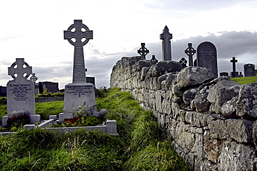 Cemetry, Durrow headstones and stone wall of Spidell, County Galway, Republic of Ireland, Europe