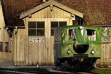 Chiemsee-Bahn passenger train engine and shed garage, Chiemgau, Upper Bavaria, Germany, Europe