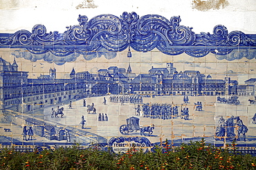 Lisbon before the 1755 earthquake, mural at the Church of Santa Luzia in the typical Azulejos blue glazed tiles in Lisbon, Portugal, Europe