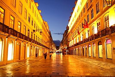 Pedestrian zone at night, Baixa, Lisbon, Portugal, Europe