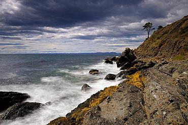 Rough sea at the Beagle Channel, Ushuaia, Tierra del Fuego, Patagonia, Argentina, South America
