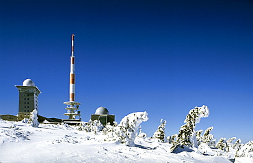 TV tower, meteorological station, Brocken mountain, Harz, Saxony-Anhalt, Germany, Europe