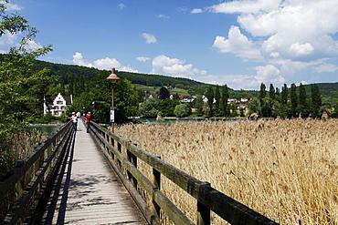 The Werdinsel island with wooden bridge and the chapel in the Untersee lake, Eschenz, Stein am Rhein, Thurgau, Switzerland, Europe