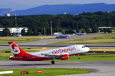 Airbus A319 from Air Berlin during take-off, Zurich Airport, Switzerland, Europe