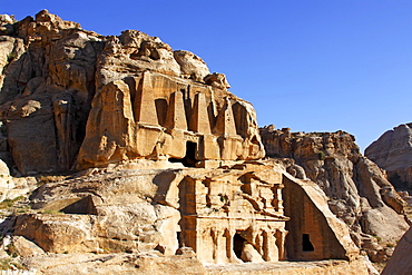 Famous historic and archaeological city Petra, Unesco World Heritage Site, Nabatean obelisk tomb and Bab el-Siq Triclinium, Hashemite kingdom of Jordan, Middle East