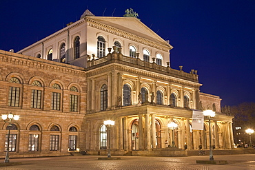 Opera house at night, Opernplatz opera square, Hanover, Lower Saxony, Germany, Europe