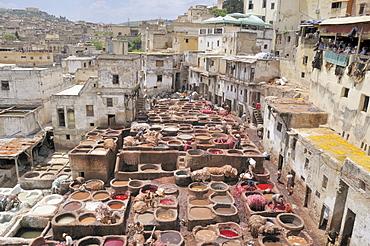 Tanners' and dyers' quarter Chouwara in Fez El Bali, medina in Fez, Morocco, Africa
