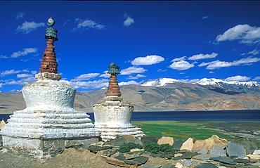 Stupas at Tso Moriri Ladakh, Himalaya, northern India, Asia