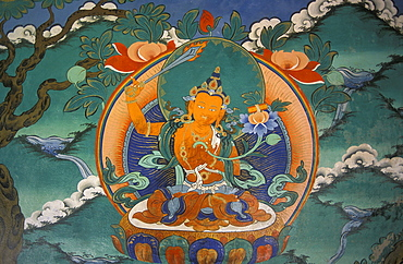 Buddhist mural, Ladakh, Himalaya, northern India, Asia