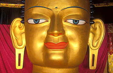 Buddha's eyes, head of the Buddha statue in the royal palace of Shey, Ladakh, Himalaya, northern India, Asia