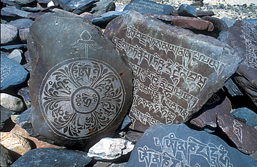 Buddhist Mani stones with sacred mantras, Zanskar, Himalaya, Jammu and Kashmir, North India, Asia