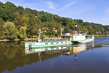 Steamboat Pirna on the river Elbe, Saxony, Germany, Europe