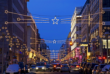 Friedrichstrasse street with Christmas decorations, Berlin, Germany, Europe