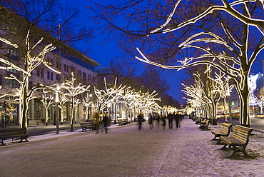 Unter den Linden boulevard with Christmas lights, Berlin, Germany, Europe