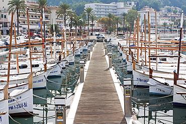 Llauets, typical Balearic Islands fishing boats in the port of Port de Soller, Majorca, Balearic Islands, Spain, Europe