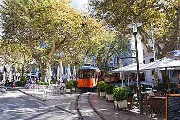 The nostalgic tram Tranvia on the Placa d'Espanya in Soller, Majorca, Balearic Islands, Spain, Europe
