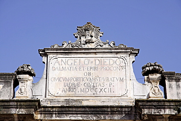 Town loggia, facade, Narodni Trg square, historic district, Zadar, Dalmatia region, Croatia, Europe