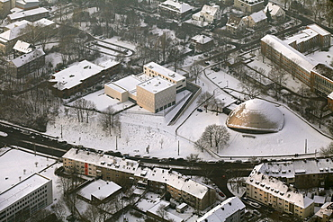 Aerial view, synagogue and planetarium, Bochum, Ruhrgebiet region, North Rhine-Westphalia, Germany, Europe