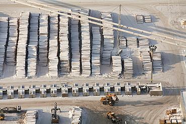Aerial view, wood piles, sawmill, Egger Holzwerkstoffe Brilon GmbH & Co. KG, Brilon, North Rhine-Westphalia, Germany, Europe