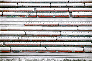 Aerial view, discarded freight cars, snow, freight yard, Hamm, Ruhr area, North Rhine-Westphalia, Germany, Europe