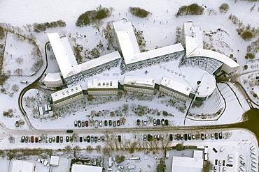 Aerial view, Witten-Herdecke University, a private university, snow, Witten, Ruhr area, North Rhine-Westphalia, Germany, Europe
