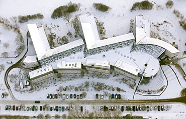 Aerial view, Private University of Witten Herdecke covered in snow, Witten, Ruhr Area, North Rhine-Westphalia, Germany, Europe