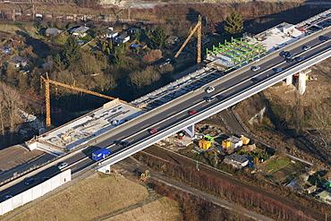 Aerial view, Schnettkerbruecke bridge, Ruhrschnellweg, traffic jam, expansion A40, B1, Dortmund, Ruhrgebiet region, North Rhine-Westphalia, Germany, Europe