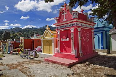 Colorful tombs in a cemetery, Santo Tomas Chichicastenango, El Quiche department, Guatemala, Central America